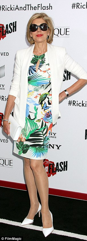 Premier style: ActressChristine Baranski arrived in a tropical print dress and sunglasses while Blue Bloods starJennifer Esposito opted for neutral tones