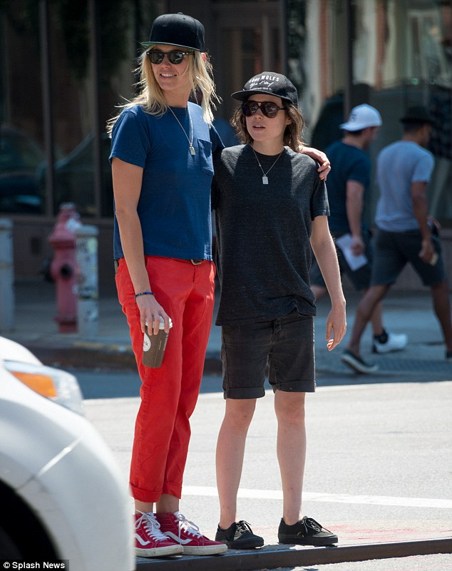 Laid-back: Ellen Page looked casual as she was spotted out on a walk in New York City on Monday with Samantha Thomas