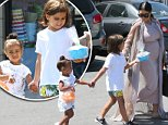 Picture Shows: North West, Mason Disick, Kim Kardashian  August 03, 2015\n \n Pregnant reality star Kim Kardashian takes her daughter North to a friend's birthday party in Woodland Hills, California. Kim and North were joined at the party by Kourtney Kardashian and her children Mason, Penelope and Reign.\n \n Non-Exclusive\n UK RIGHTS ONLY\n \n Pictures by : FameFlynet UK © 2015\n Tel : +44 (0)20 3551 5049\n Email : info@fameflynet.uk.com