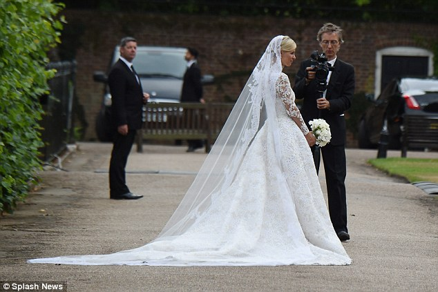 Beautiful bride: The younger sister of Paris Hilton was a vision in her £50,000 Valentino couture dress