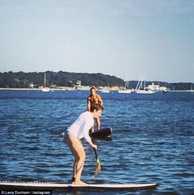 'Paddling my ass off': The Girls actress took part in The Hamptons Paddle event before Party for Pink