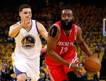 James Harden #13 of the Houston Rockets drives on Klay Thompson #11 of the Golden State Warriors in the first half during game five of the Western Conference Finals of the 2015 NBA Playoffs at ORACLE Arena on May 27, 2015 in Oakland, California.  Ezra Sha