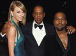 LOS ANGELES, CA - FEBRUARY 08: (L-R) Recording Artists Taylor Swift, Jay Z and Kanye West and tv personality Kim Kardashian attend The 57th Annual GRAMMY Awards at the STAPLES Center on February 8, 2015 in Los Angeles, California.  (Photo by Larry Busacca/Getty Images for NARAS)