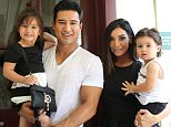 LOS ANGELES, CA - AUGUST 02:  Actors Mario Lopez, Courtney Mazza and their children Gia and Dominic attend L.A. Parent's 35th birthday bash at Original Farmers Market on August 2, 2015 in Los Angeles, California.  (Photo by JC Olivera/Getty Images)