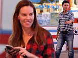 EXCLUSIVE: Hilary Swank looks good in her casual jeans and plaid shirt while enjoying dinner with new boyfriend and having a night out.   Pictured: Hilary Swank Ref: SPL1090224  030815   EXCLUSIVE Picture by: Splash News  Splash News and Pictures Los Angeles: 310-821-2666 New York: 212-619-2666 London: 870-934-2666 photodesk@splashnews.com