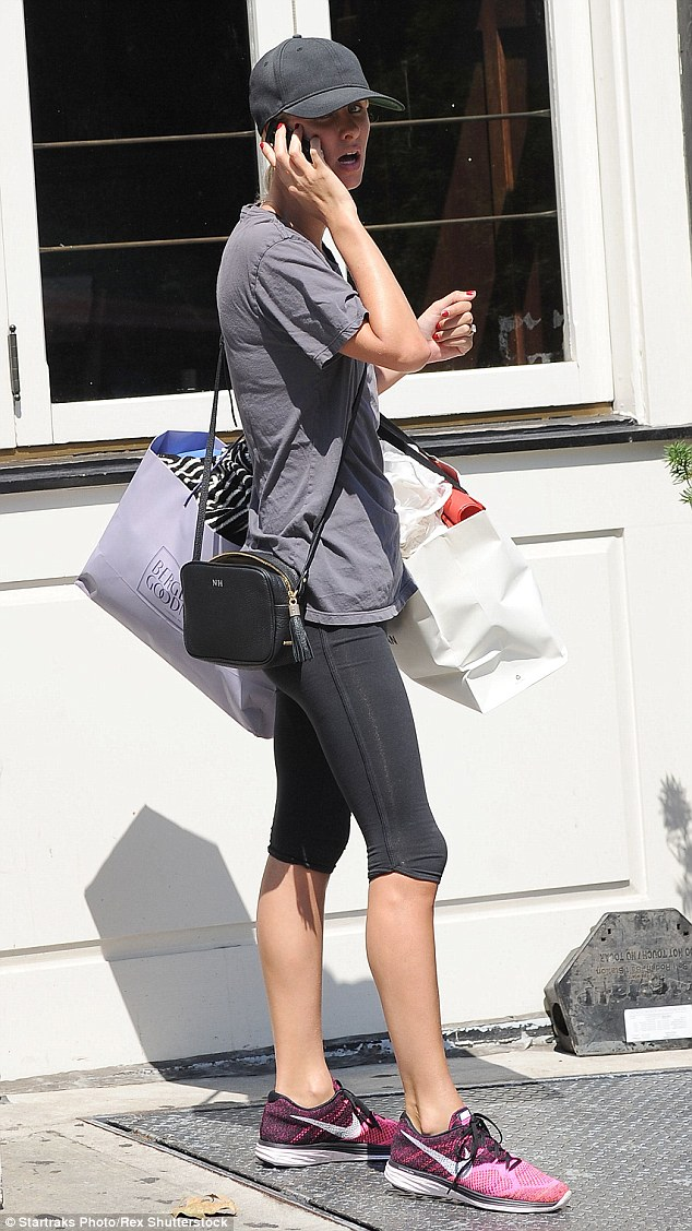 Sporty: Newlywed Nicky Hilton, 31, stepped out in her workout wear in New York on Tuesday