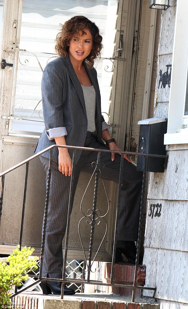 Door knock: Jennifer's character - New York detective Harlee Santos - attempts to question a suspect