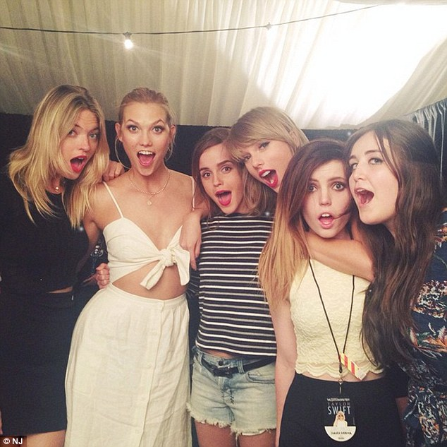 Squad: Although Taylor and Kanye - who has daughter North with his wife Kim Kardashian West - have only recently become pals, the Style hitmaker has a very close group of friends who she can always rely on - pictured with Karlie Kloss, Emma Watson and pals