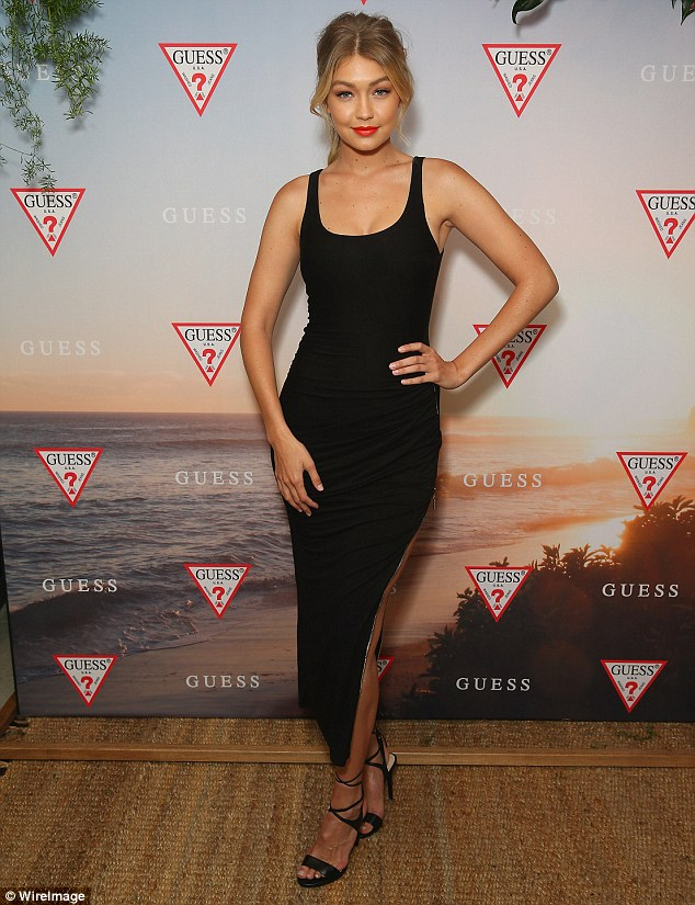 A vision in black!Gigi Hadid made another flawless appearance in Sydney on Tuesday evening as she continued her promotional campaign for Guess jeans