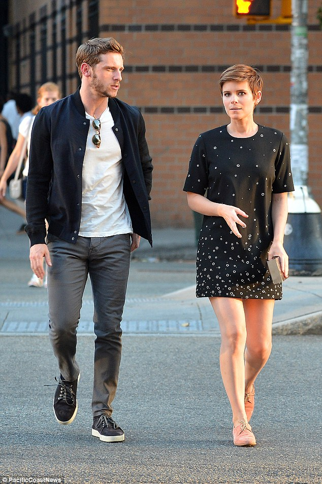We come as a pair! The duo came along to the night out together and met the rest of their co-stars - they are pictured here in New York on Sunday evening