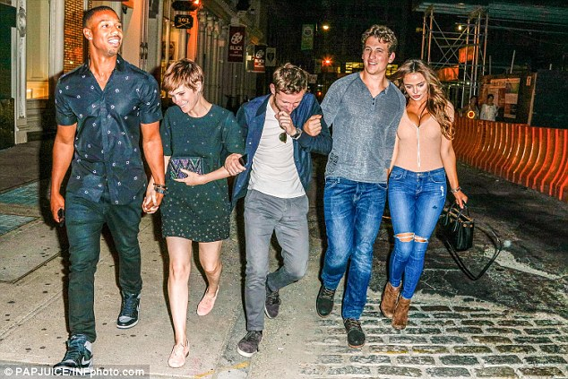 Big night out: The cast enjoyed the Big Apple night life on Sunday - Kate and Jamie were joined by Michael B. Jordan (L) and Miles Teller along with his girlfriendKeleigh Sperry
