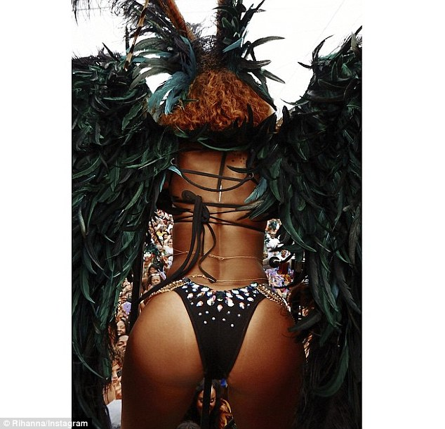 Bottoms up: Earlier in the day, Rihanna took to Instagram to show off her posterior in all its pert glory