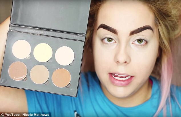 The finishing touches: Nicole uses Anastasia Beverly Hills' Contour Kit for one of her final foundation steps