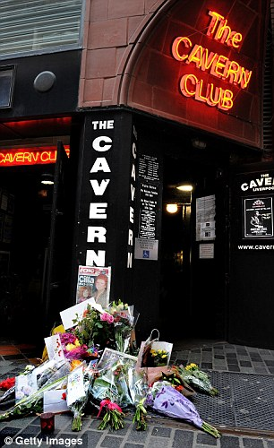 Tributes left outside The Cavern Club in her hometown of Liverpool