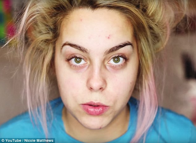 Fresh-faced intro: The 22-year-old starts off with a bare face, showing viewers that she has pimples and under-eye circles