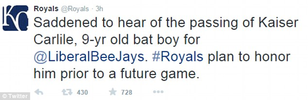 Paying tribute: On Tuesday, the Kansas City Royals, a professional baseball team, announced on its Twitter page (above) that it was 'saddened to hear' of Kaiser's death and would honor him before a future game