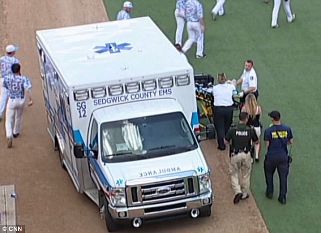 Emergency: After ambulance arrived on scene, Kaiser - who volunteered for the Kansas team - was rushed to the ICU at nearby Via Christi St. Francis hospital, where he tragically succumbed to his injuries on Sunday