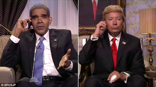 Debate advice: Jimmy Fallon poked fun at Donald Trump's White House bid on Monday's Tonight Show with a little help from comedian and actor Dion Flynn as President Obama