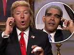 4 August 2015 - Los Angeles - USA  **** STRICTLY NOT AVAILABLE FOR USA ***  Jimmy Fallon pokes fun at Donald Trump during sketch on The Tonight Show. Just hours after website Gawker published Trump's phone number, Fallon donned a bad wig to play the Presidential hopeful - who gets a call from current President Barack Obama. Obama then offers him debate advice before Fallon's Trump begins bragging, interrupting the President and cracking Chris Christie jokes.   XPOSURE PHOTOS DOES NOT CLAIM ANY COPYRIGHT OR LICENSE IN THE ATTACHED MATERIAL. ANY DOWNLOADING FEES CHARGED BY XPOSURE ARE FOR XPOSURE'S SERVICES ONLY, AND DO NOT, NOR ARE THEY INTENDED TO, CONVEY TO THE USER ANY COPYRIGHT OR LICENSE IN THE MATERIAL. BY PUBLISHING THIS MATERIAL , THE USER EXPRESSLY AGREES TO INDEMNIFY AND TO HOLD XPOSURE HARMLESS FROM ANY CLAIMS, DEMANDS, OR CAUSES OF ACTION ARISING OUT OF OR CONNECTED IN ANY WAY WITH USER'S PUBLICATION OF THE MATERIAL.    BYLINE MUST READ : NBC/XPOSUREPHOTOS.COM    PLEASE CRE