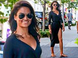 EXCLUSIVE TO INF.\nAugust 4, 2015: Shanina Shaik arrives at her hotel wearing a revealing black dress with a high leg slit today in New York City.\nMandatory Credit: Peter Cepeda/INFphoto.com Ref.: infusny-259