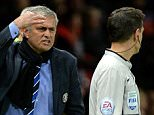 Chelsea manager Jose Mourinho (L) shares his frustration with the assistant referee Gary Beswick (R) after Branislav Ivanovic receives a red card during the English Premier League soccer match between Manchester United and Chelsea at Old Trafford stadium in Manchester on 26 October 2014.        epa04465131  EPA/PETER POWELL DataCo terms and conditions apply  http://www.epa.eu/files/Terms%20and%20Conditions/DataCo_Terms_and_Conditions.pdf