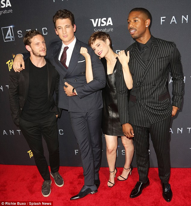 Close cast: The stars of Fantastic Four, (L to R) Jamie Bell, Miles, Kate Mara, and Michael B. Jordan, got a bit silly as they posed together ahead of the film's screening