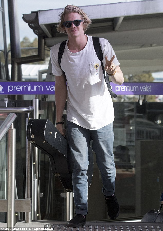 See ya: Cody Simpson was seen leaving Sydney on Wednesday morning
