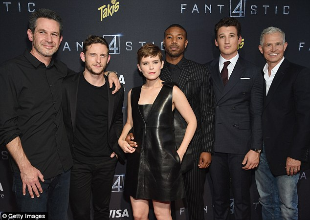 The 32-year-old beauty was joined by writer Simon Kinberg, co-stars Jamie Bell, Michael B. Jordan, Miles Teller and producer Hutch Parker