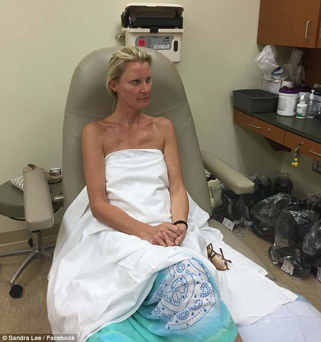Keeping positive: Lee shared this photo of herself at a doctor's appointment on Monday, writing that she was surrounding herself 'with only good vibes'