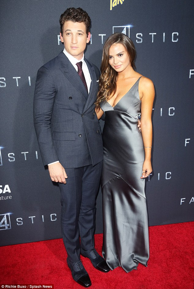 Coordinated: Miles, 28, was accompanied by his stunning girlfriendKeleigh Sperry who wore a grey satin gown