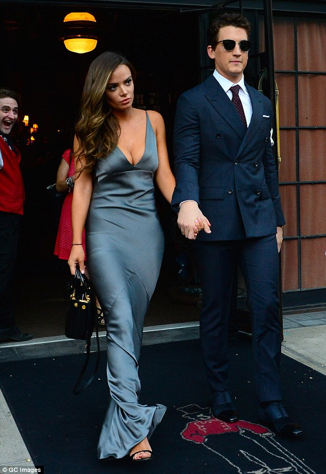 Hand-in-hand: The glamorous couple were seen leaving their Soho hotel together ahead of the premiere on Tuesday