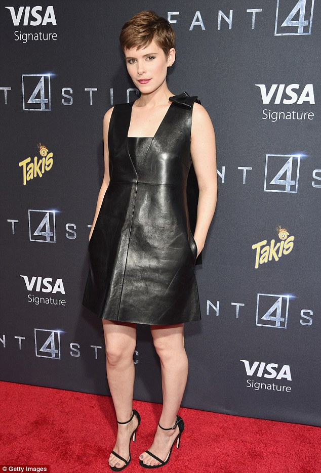 Lovely in leather: Kate Mara looked gorgeous for the premiere of Fantastic Four in New York on Tuesday