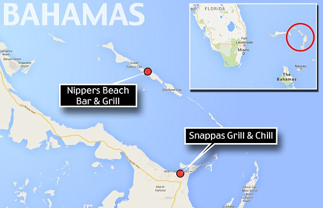 This locator map shows the two establishments in Marsh Harbor and Guana Cay that Hart had visited on the eve of his death