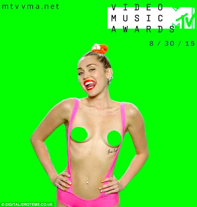 Full frontal: Miley sticks out her tongue, licks her lips and gives the camera a cheeky wave in the clip