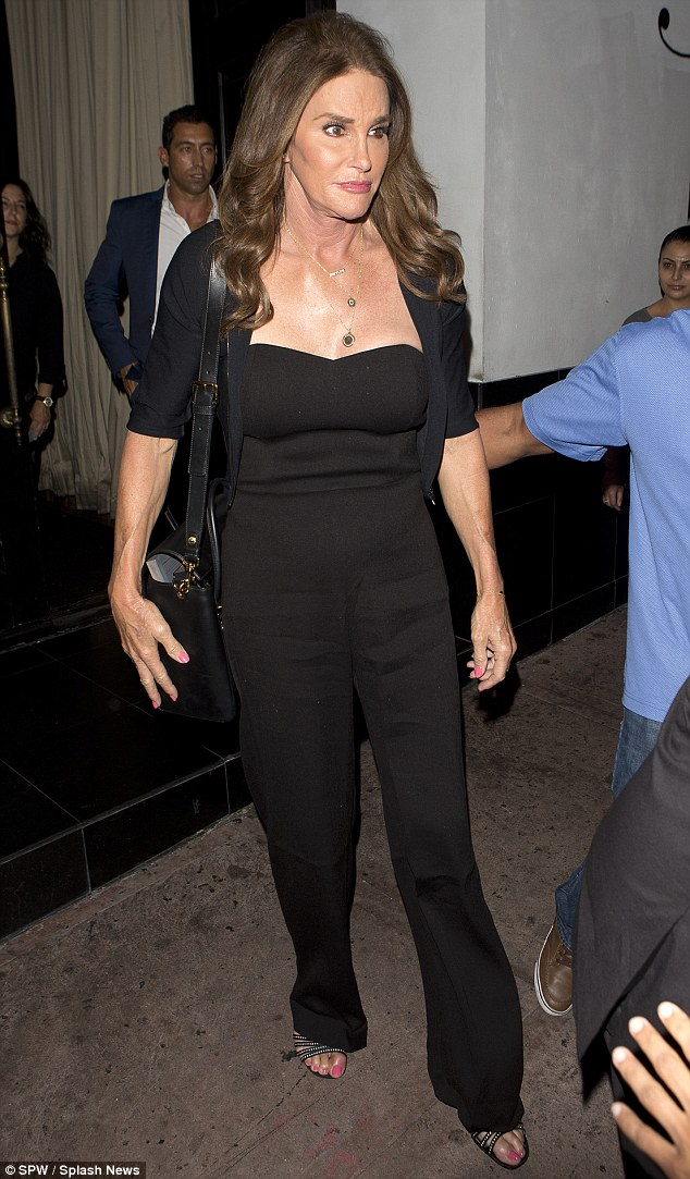 Night out: Caitlyn was spotted leaving Beso restaurant in Hollywood after dinner on Wednesday