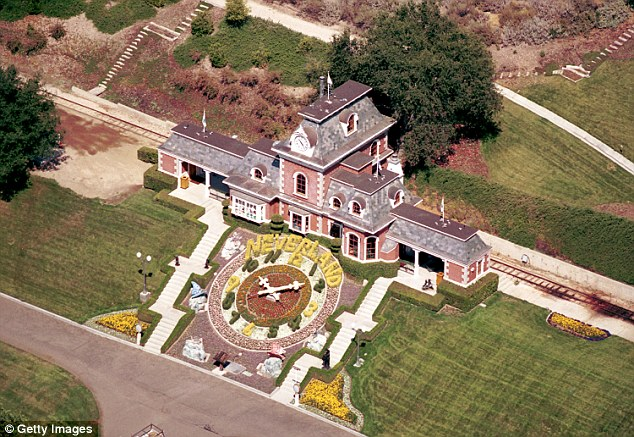 The original:He lived there with his family until 1988, when he moved to Neverland, pictured, his flamboyant and extravagant ranch house around two hours drive west of Hayvenhurst