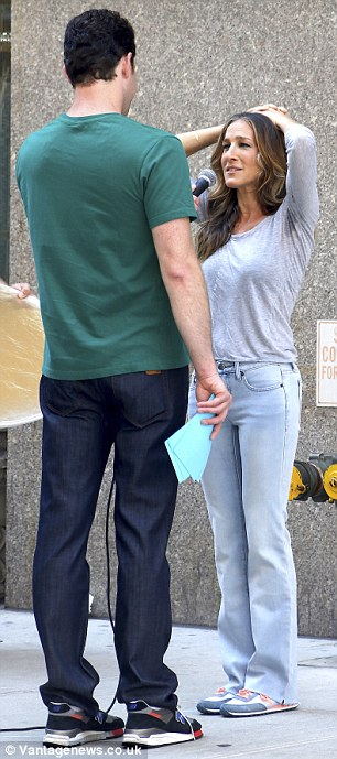 Under pressure: Sarah was grilled by the comedian on Fifth Avenue as part of his show - Billy on the Street