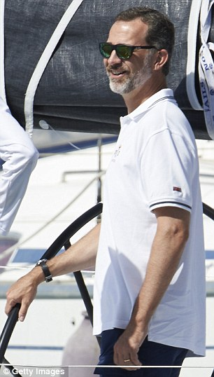 Sailing fan Felipe was without wife Letizia but looked completely at home onboard the yacht