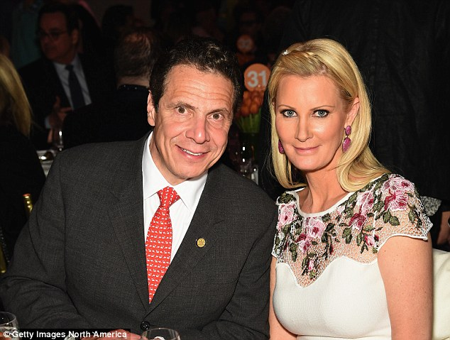 Her cheerleader: Her longtime boyfriend, New York Governor Andrew Cuomo, was heading to the hospital to be with her (pair above in April shortly after Lee was diagnosed with breast cancer)