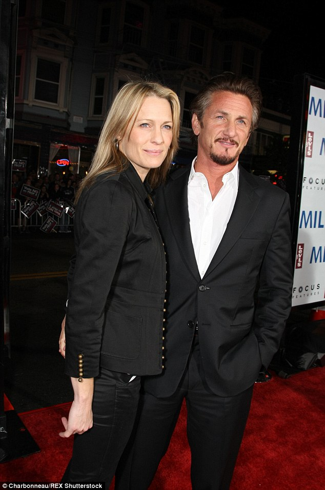The ex files: If they did not split, the Oscar winner would have been heading down the aisle for the third time having been married to Robin Wright (pictured 2008) from 1996 to 2010 and Madonna for four years until 1989