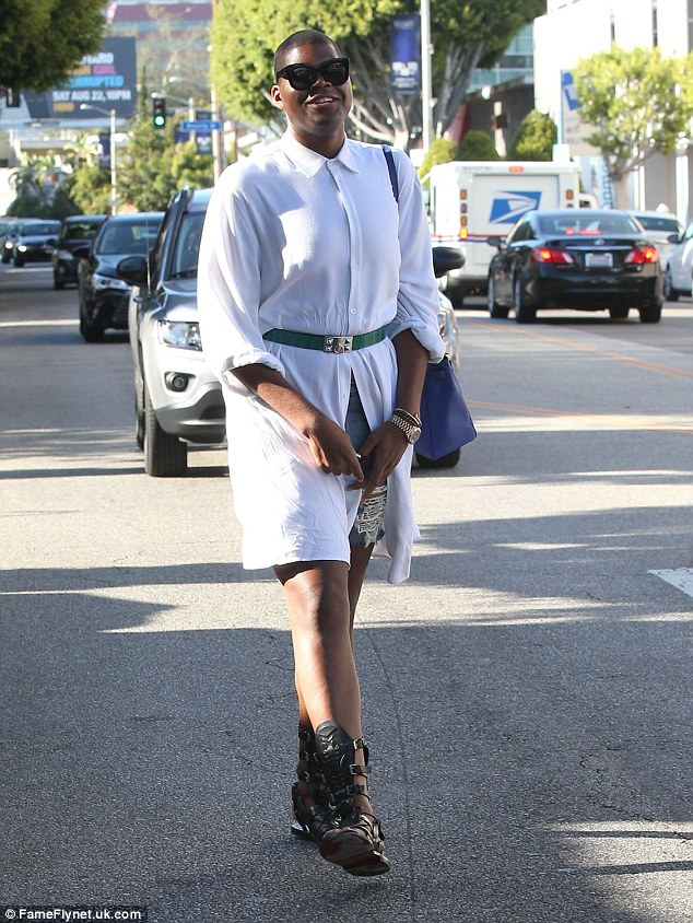 Favourite: The son of Magic Johnson seems to be loving shirt dresses at the moment