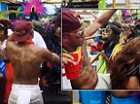 Lewis Hamilton dancing at Barbados Carnival