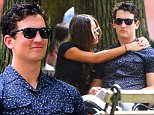 NEW YORK, NY - AUGUST 05:  Actor Miles Teller (L) and girlfriend Keleigh Sperry are seen in Washington Square Park watching a music band on August 5, 2015 in New York City.  (Photo by Raymond Hall/GC Images)