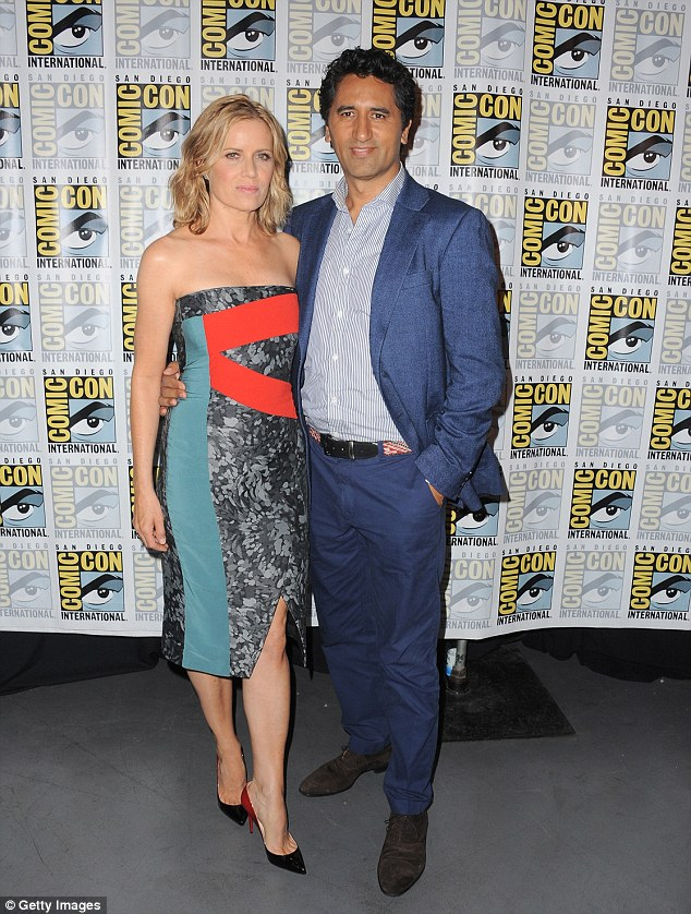 Co-stars: Kim Dickens (left) will star alongside Cliff Curtis (right) in Fear The Walking Dead. The duo is seen here during Friday's panel at Comic-Con