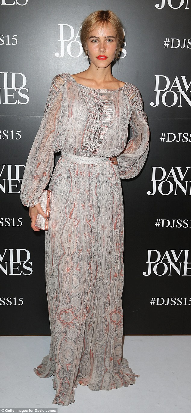'Happy and healthy': Ethereal Isabel Lucas showcases Seventies flare in floor-length Zimmermann dress and insists she is enjoying life, as she poses at Wednesday night's David Jones Spring/Summer 2015 show