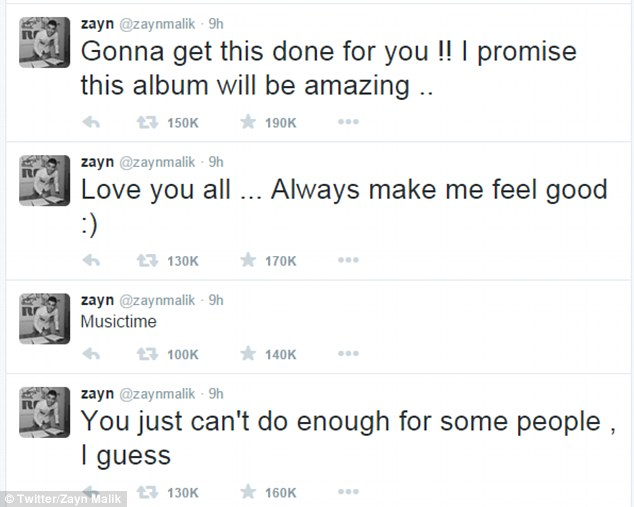 Social media musings: The former One Direction singer took to Twitter on Wednesday night to share his thoughts with fans, cryptically tweeting, 'You just can't do enough for some people'