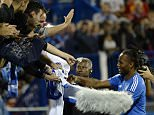 Aug 5, 2015; Montreal, Quebec, CAN; Montreal Impact forward Didier Drogba (11) signs autographs at the half at Stade Saputo. Mandatory Credit: Eric Bolte-USA TODAY Sports