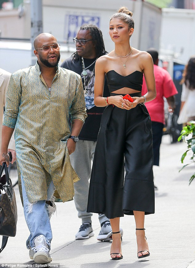Crew: Joining her on Wednesday's outing was Zendaya's longtime personal stylist, Law Roach