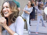 """EXCLUSIVE ALL ROUNDER Sarah Jessica Parker is seen filming an episode of the comedy game show """"Billy on the Street"""" hosted by Billy Eichner on Fifth Avenue in New York, 4 August 2015.\n4 August 2015.\nPlease byline: Vantagenews.co.uk"""