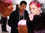 """6 August 2015 - Los Angeles - USA  **** STRICTLY NOT AVAILABLE FOR USA ***  ***** WARNING SOME GRAPHIC IMAGES ***** Nicole Richie pokes fun at dad Lionel Richie with her 'Pop' art bust of him on reality show Candidly Nicole. The pink haired star held a gallery showing to offer her artwork to benefit and raise money for feline AIDS. The main highlight was NicoleÌs sculpture entitled 'Issues' that she she made of her famous dad Lionel Richie - and which looked similar to the bust from his iconic Hello video but with a pink wig attached. Nicole explained the piece to Lionel as: """"It's a combination of your head with my hair, really represents who I am and that equals issues.Ó However, after Lionel agrees to buy the bust for $17,000, Nicole performs a piece called 'Why, Poppa, why?' and destroys the statue as Lionel looks on open mouthed. Earlier in the show Nicole also attended a still life class to create artwork for her show and got the giggles when the male model completely disrobed. S"""